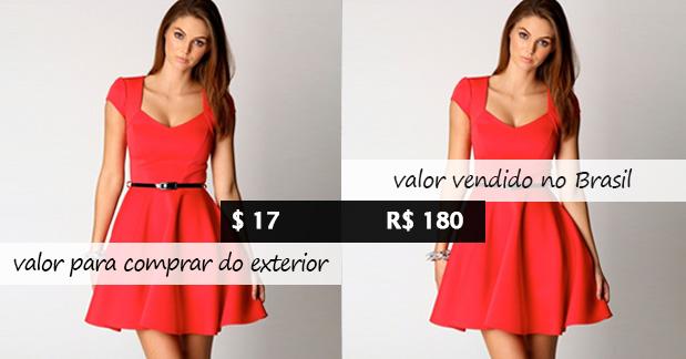 Preço vestido no brasil x exterior