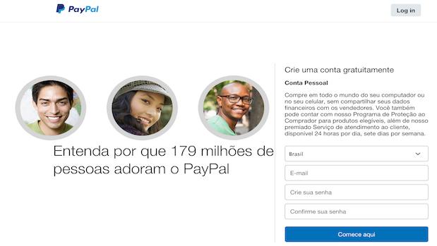 Crie sua conta no Paypal e faça o login para acessar sua conta